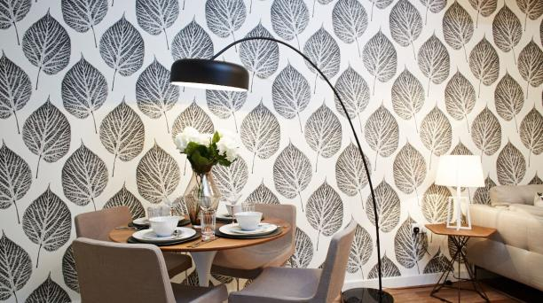 dining area with feature wall