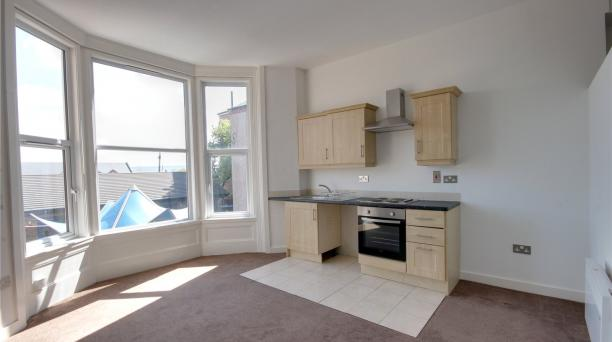 kitchen and living area, large triple window