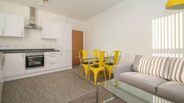 kitchen, dining and lounge area, white themed kitchen, built in oven and hob