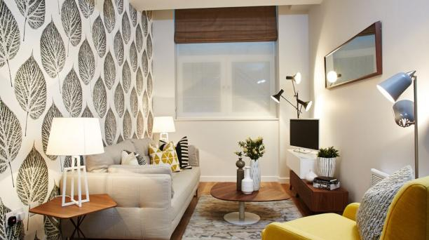 modern style lounge, grey and yellow theme