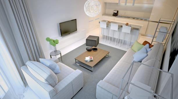 large lounge and kitchen area, grey sofas, white walls