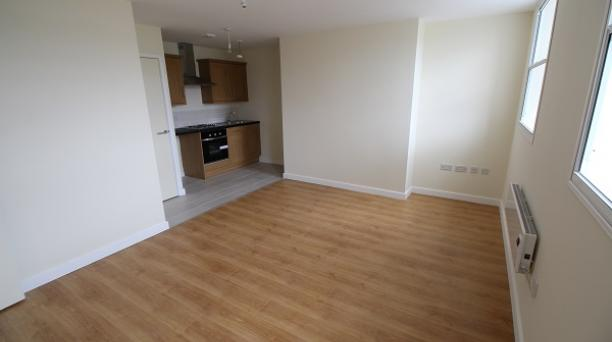 kitchen and lounge area, laminate flooring