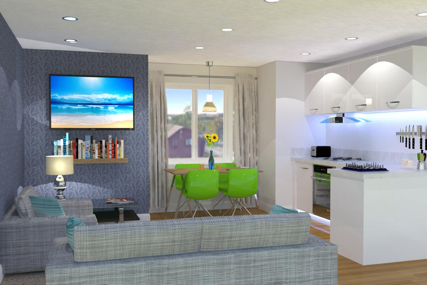 modern living room, corner sofa, white kitchen area