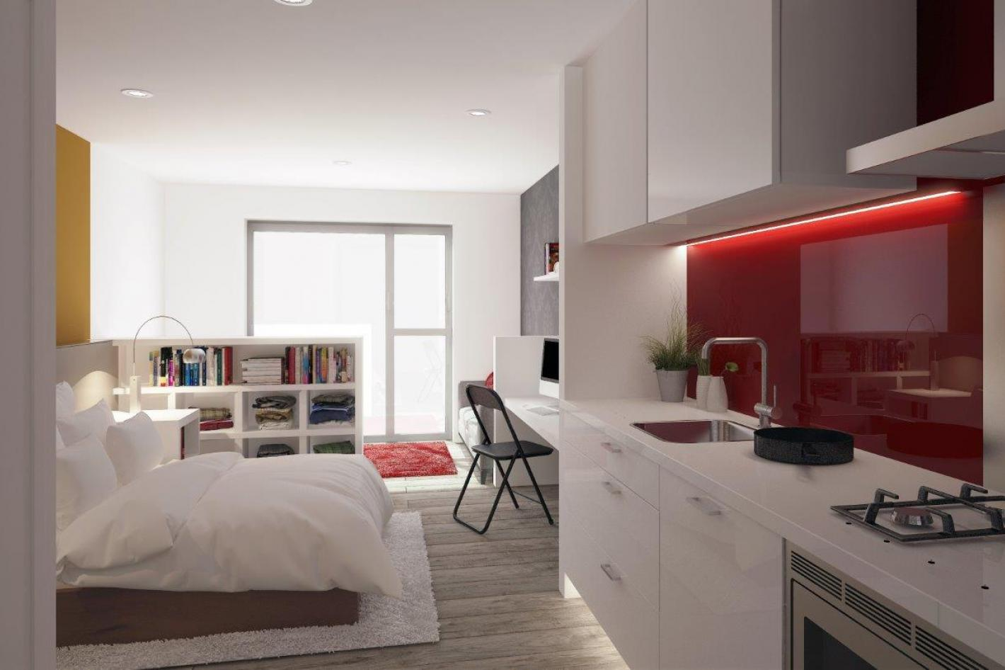 studio apartment, grey and red theme