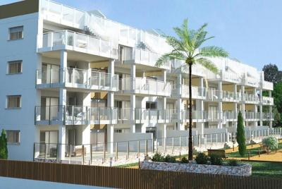 external view of block of apartments with palm tree in front of it